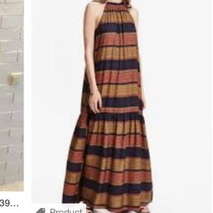 H&M striped earth tones summer maxi dress size 14